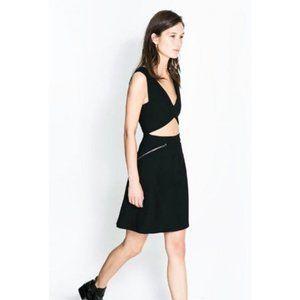 Zara Studio Dress With Zips Cutout Edgy V-Neck Zip
